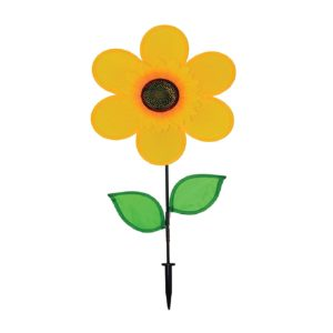 In the Breeze Best Selling 12 Inch Yellow Sunflower Wind Spinner with Leaves