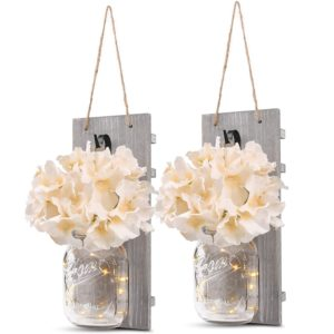 GBtroo Rustic Wall Sconces Mason Jars Sconce