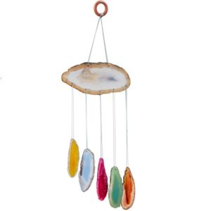 rockcloud Agate Slices Geode Wind Chime Home Garden Decoration Figurine Small Size