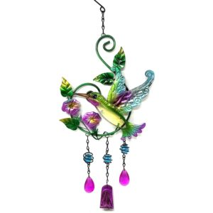 Bejeweled Display Hummingbird & Flower w/ Stained Glass Wind Chimes Bell