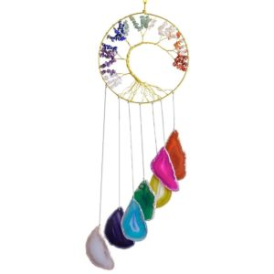SUNYIK Tree of Life Agate Slice Wind Chime